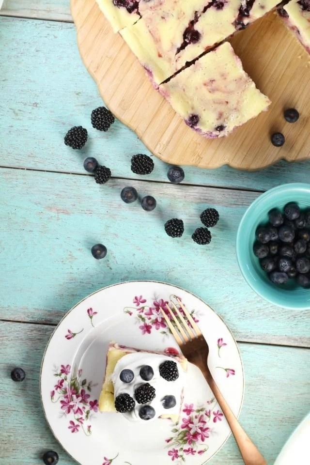 Berry Cheesecake Bars Dessert Recipe from MissintheKitchen.com