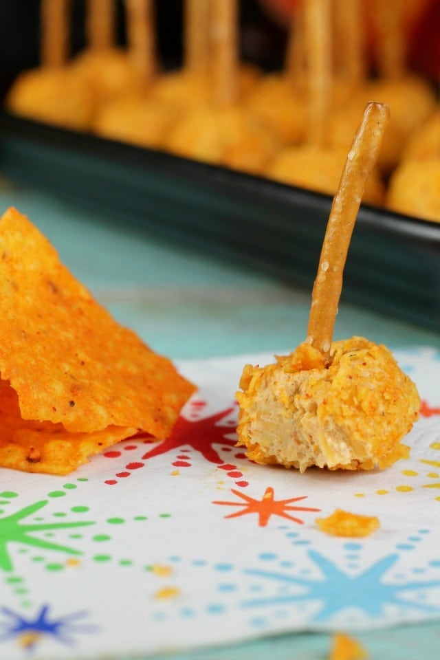 Mini Doritos Cheese Ball snacks recipe from MissintheKitchen.com #ad #SayYesToSummer