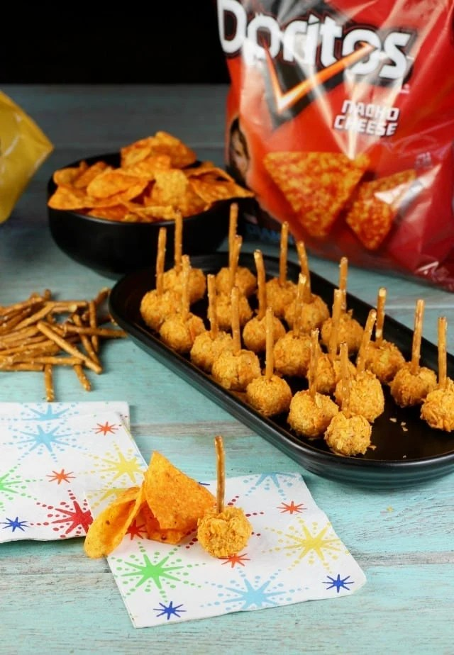 Mini Doritos Cheese Balls Recipe from MissintheKitchen.com #ad #SayYesToSummer