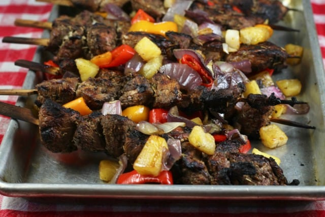 Easy Grilled Balsamic Pork Skewers Recipe ~ MissintheKitchen.com