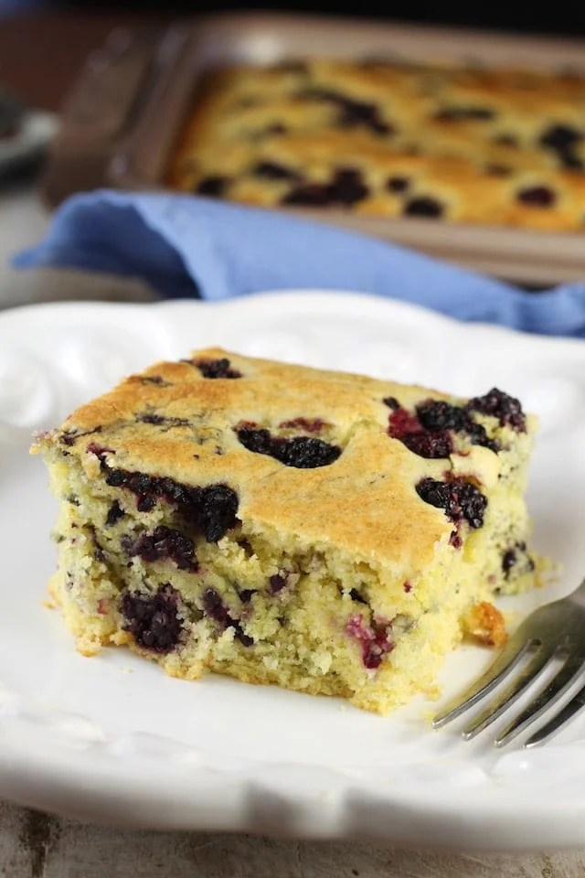 Blackberry Cornbread Recipe ~ A delicious breakfast treat for any day of the week. From MissintheKitchen.com