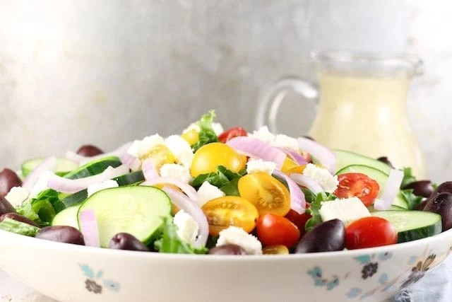 Greek Salad + Roasted Garlic Salad Dressing ~ MissintheKitchen.com