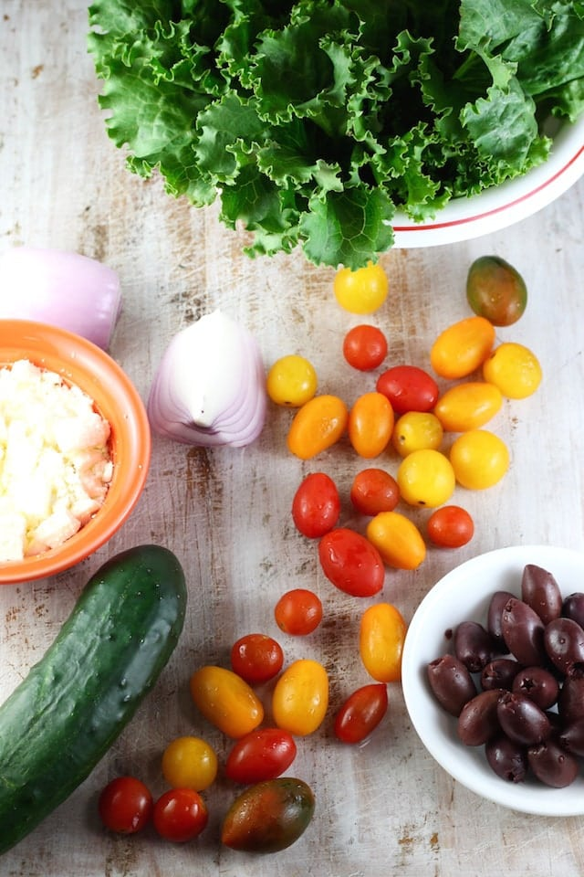Ingredients for Greek Salad ~ MissintheKitchen.com