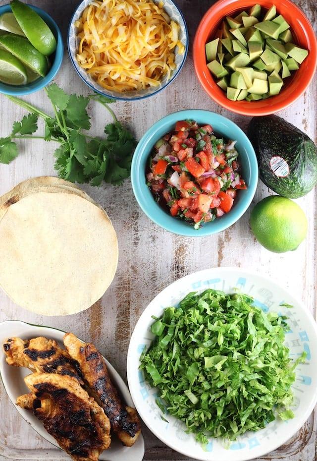 Grilled Chicken Tostadas Ingredients ~ MissintheKitchen.com