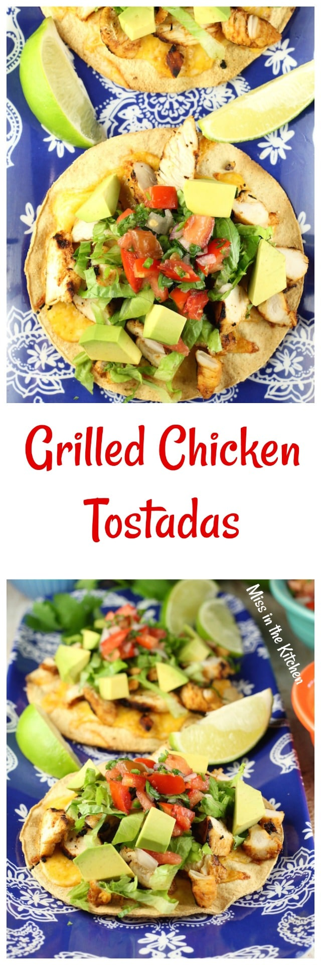 Grilled Chicken Tostadas Recipe from MissintheKitchen.com #sponsored by Produce for Kids