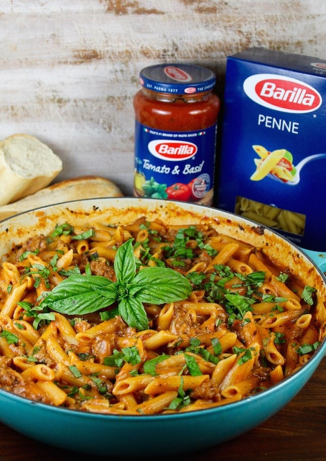 One Pot Sausage Penne Pasta with Barilla Pasta and Tomato Basil Sauce ~ Recipe from MissintheKitchen.com #ad