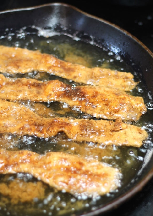 Frying Chicken Fried Bacon ~ MissintheKitchen.com