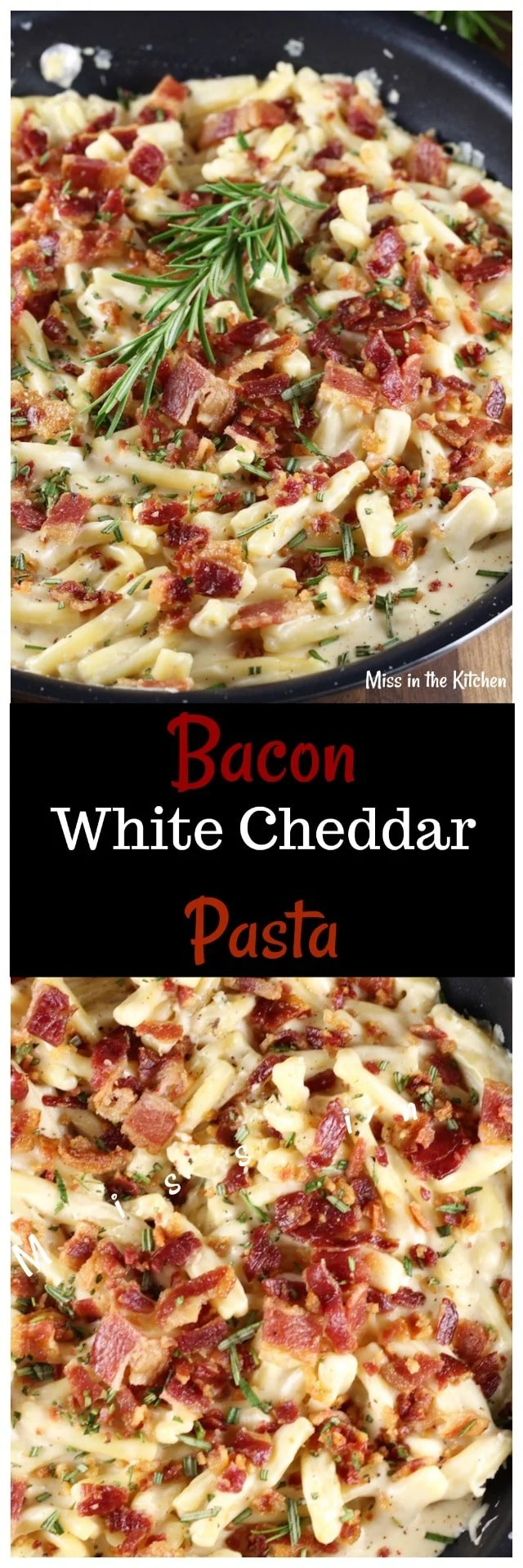 Bacon White Cheddar Pasta Recipe ~ Easy weeknight dinner ~ MissintheKitchen.com