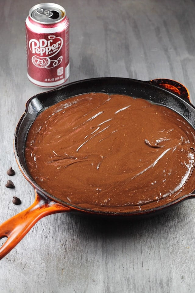 Ready for the oven ~ Dr Pepper Brownies Recipe ~ MissintheKitchen.com #ad