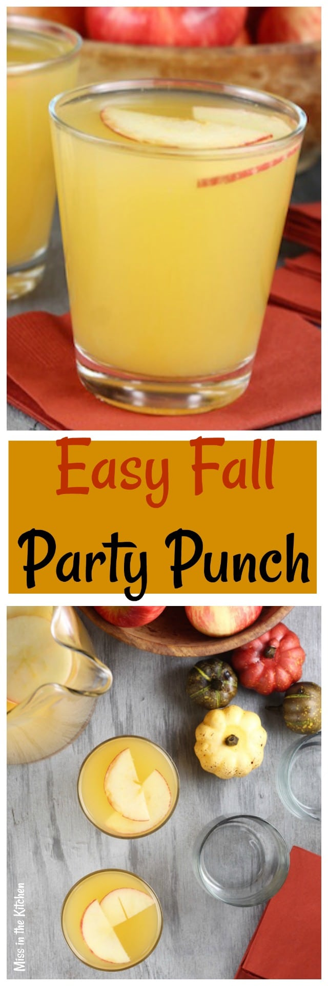 Easy Fall Party Punch Recipe perfect for any fall tailgating party or Thanksgiving! From MissintheKitchen.com
