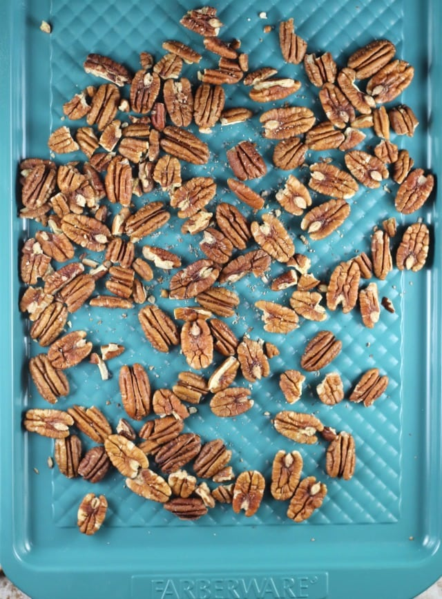 Pecans for Mini Turtle Cheesecakes ~ MissintheKitchen.com