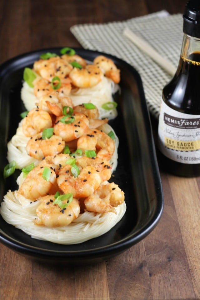 Miso Honey Garlic Shrimp made with HemisFares Red Miso Paste from MissintheKitchen.com #ad