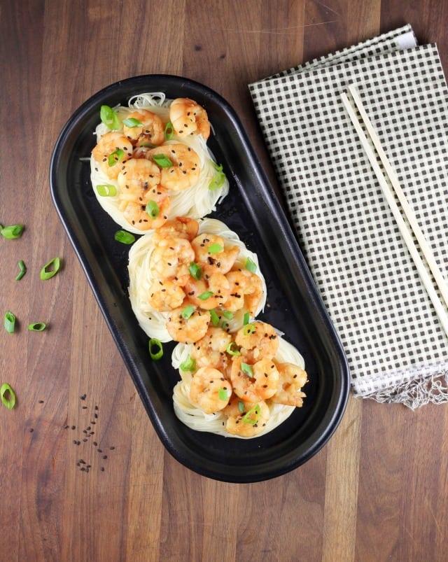 Miso Honey Garlic Shrimp Recipe ~ Quick and easy dinner from MissintheKitchen.com #hemisfares #ad #miso #shrimp