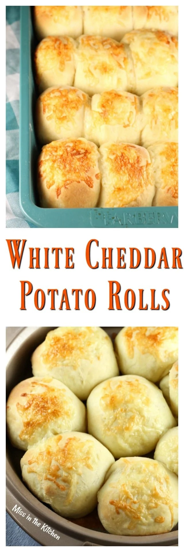 White Cheddar Potato Roll Recipe perfect for the holiday dinners ~ Recipe from MissintheKitchen.com #ad @RedStarYeast