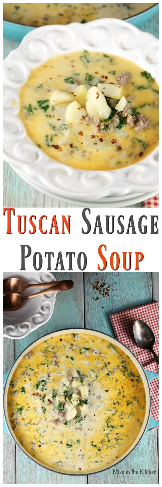 Tuscan Sausage Potato Soup Recipe from The Simple Kitchen Cookbook ~ MissintheKitchen.com #soup #recipe #tuscan #comfortfood