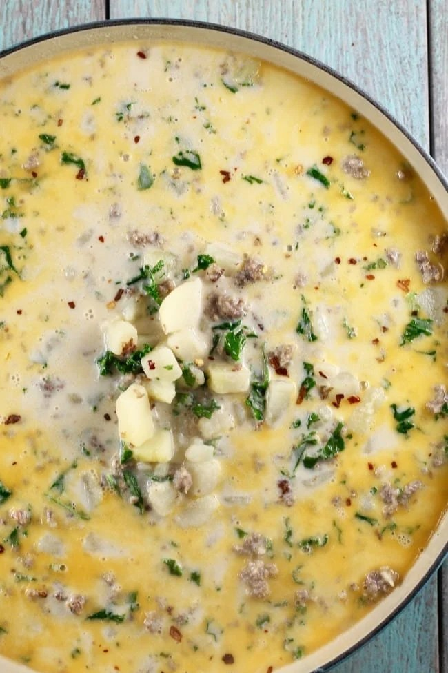 Tuscan Sausage Potato Soup from The Simple Kitchen Cookbook ~ MissintheKitchen.com #soup #potatosoup #cookbook