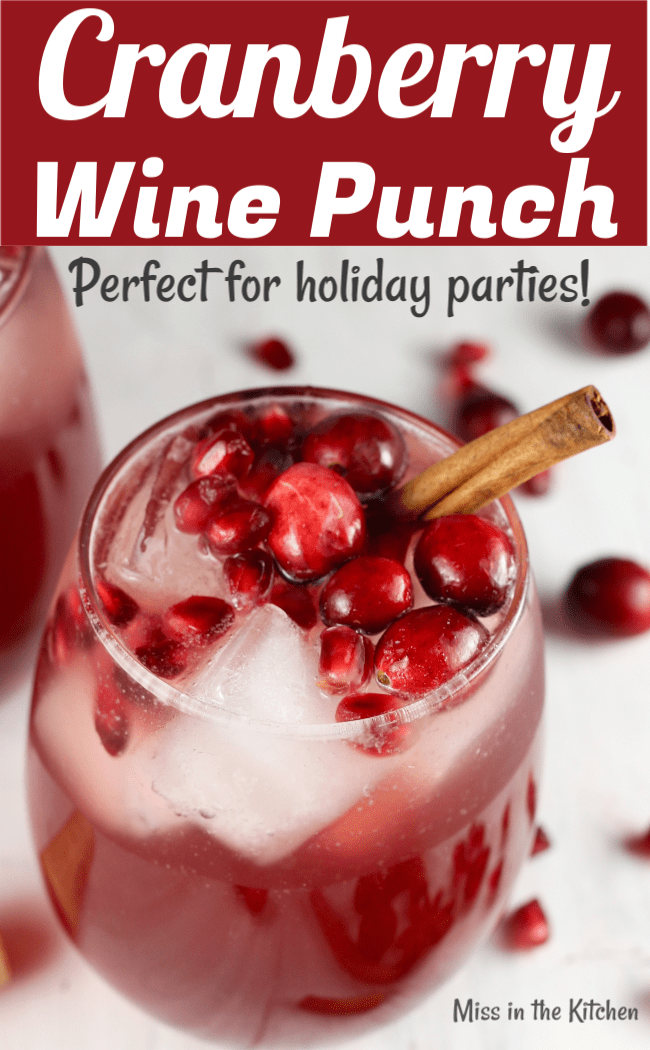 Cranberry Wine Punch garnished with cinnamon and cranberries