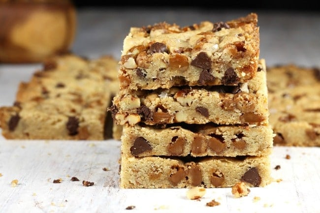 Salted Caramel Cookie Bars Stack