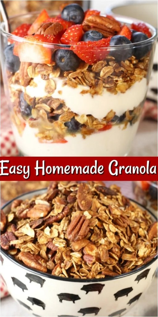Photo Collage of Homemade Granola - top photo parfait with yogurt ~ bottom photo bowl of granola