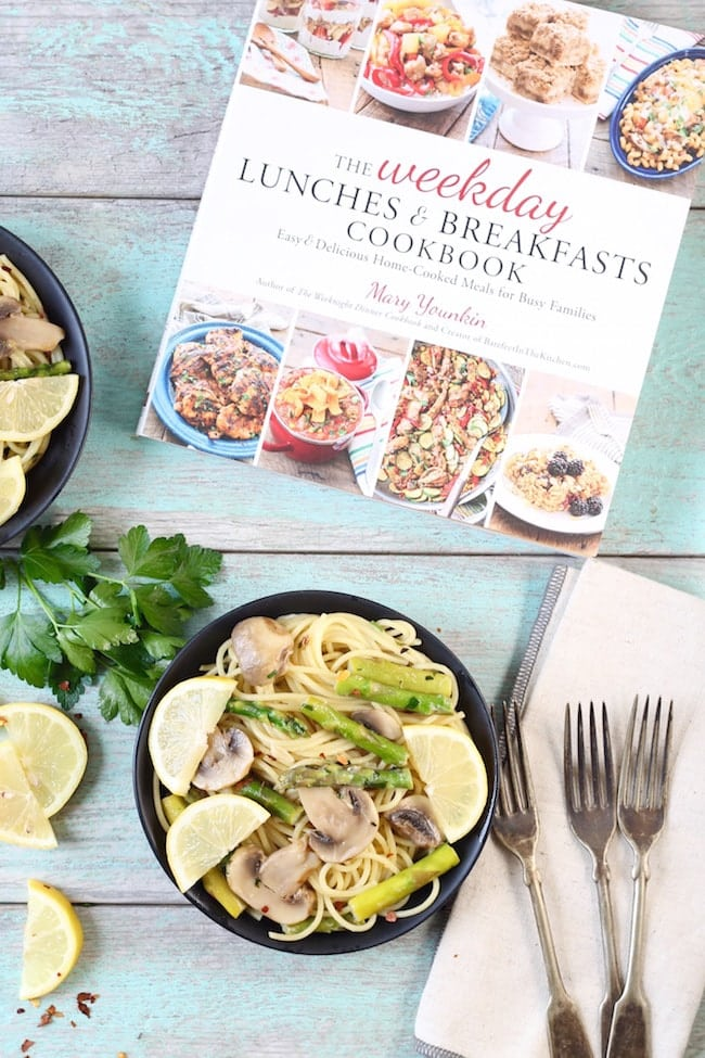 The Weekday Lunches and Breakfasts Cookbook ~ Angel Hair Pasta with asparagus and mushrooms