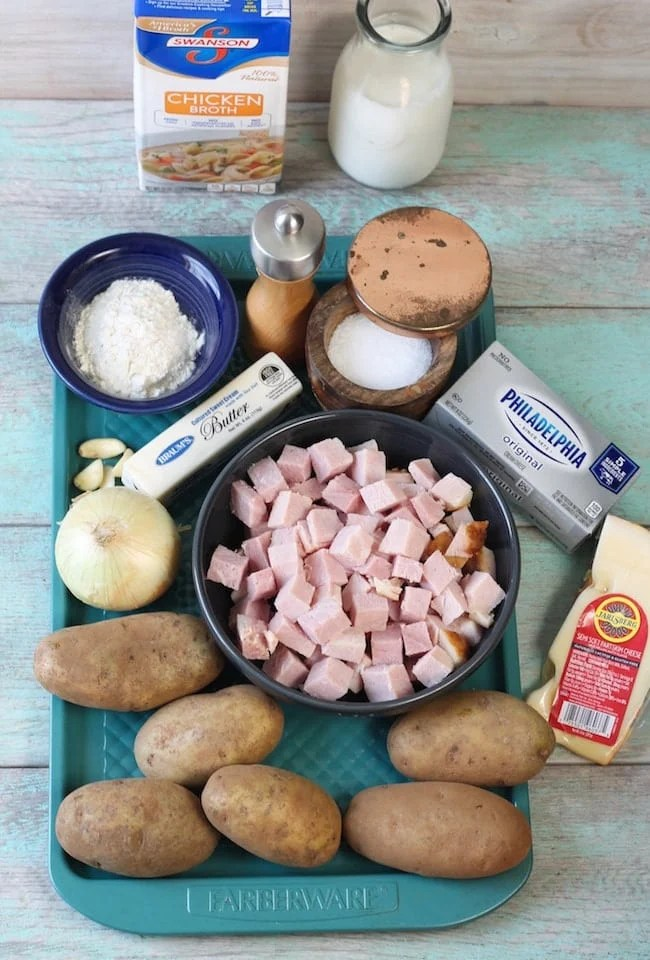 Ingredients for Cheesy Ham and Potato Casserole