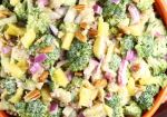 Broccoli Pineapple Salad with red onions, bacon and pecans