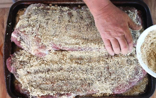 Brown Sugar coated spare ribs ready for the smoker