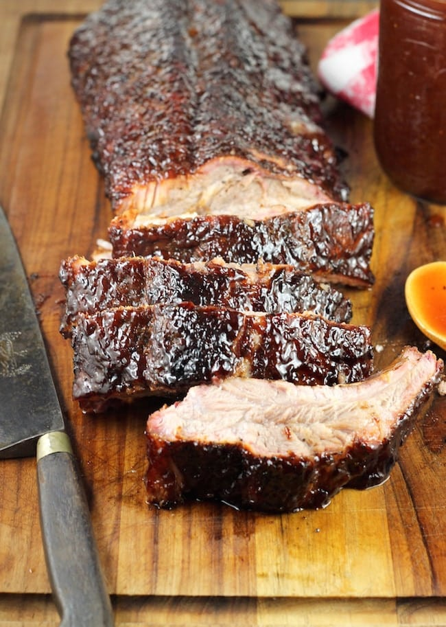 Dr Pepper Barbecue Baby Back Ribs - sliced