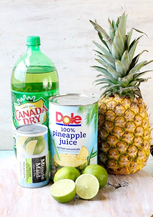 Ingredients for Pineapple Limeade Slush - Ginger Ale, Limeade Concentrate, Pineapple Juice with Fresh Pineapple and limes