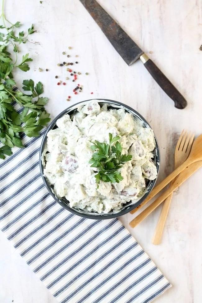Creamy Dill Potato Salad with fresh parsley