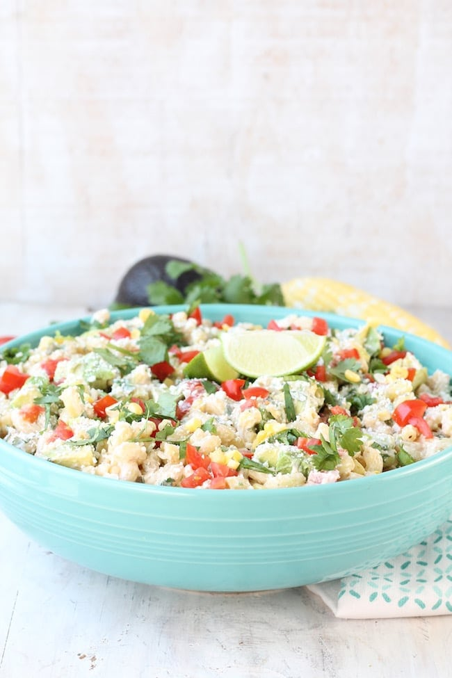 Mexican Street Corn Pasta Salad with fresh limes