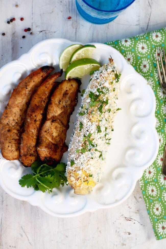 Spicy Honey Grilled Chicken Tenders + Mexican Street Corn