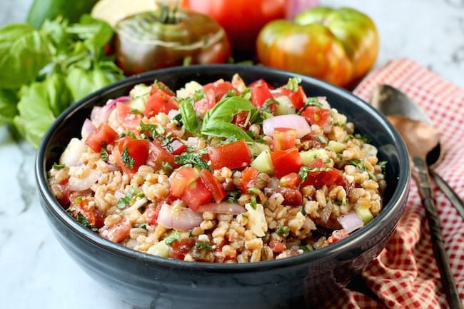 Farro Salad with tomatoes and cucumbers