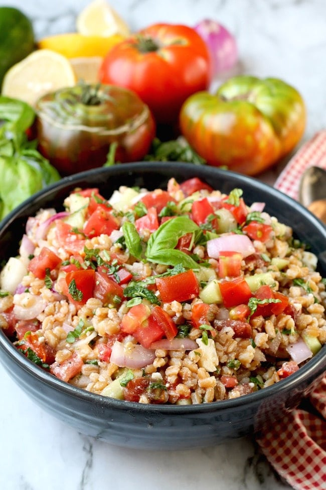 Greek Farro Salad with tomatoes, cucumbers and feta cheese