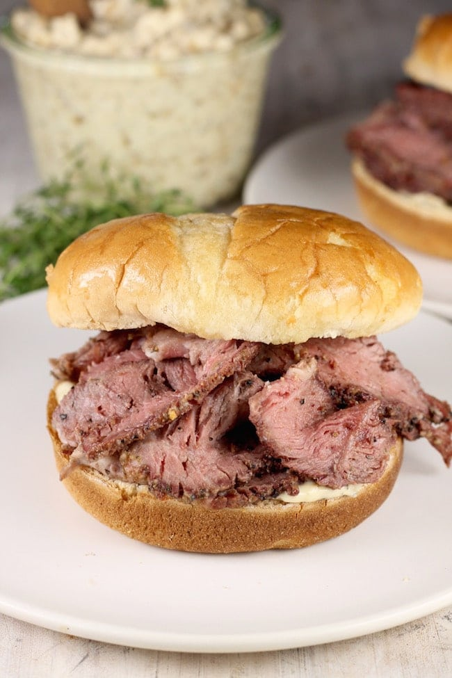 Smoked Roast Beef Sandwiches with vidalia onion mayo