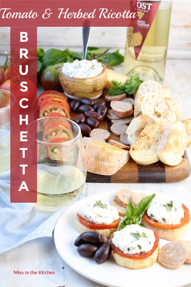Fresh Tomato & Herb Ricotta Bruschetta Appetizer
