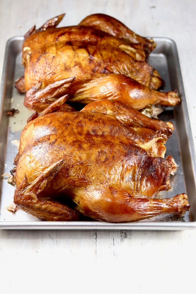 Smoked Whole Chickens on a tray