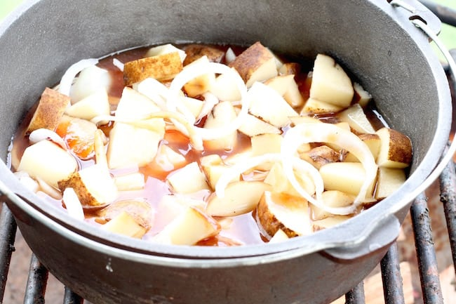 potatoes and onions for campfire dutch oven short ribs