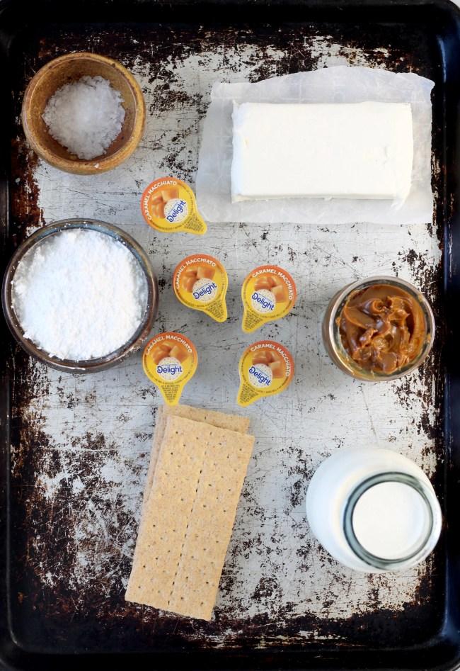 Ingredients for No bake caramel macchiato cheesecakes