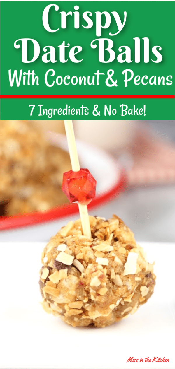 Crispy Date Balls are a holiday staple and so easy to make! Filled with sweet and chewy dates, pecans, Rice Krispies and then rolled in toasted coconut. Your family is sure to love these easy no bake holiday treats.