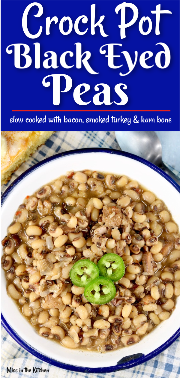 Crock Pot Black Eyed Peas Recipe with smoked turkey, bacon and ham.