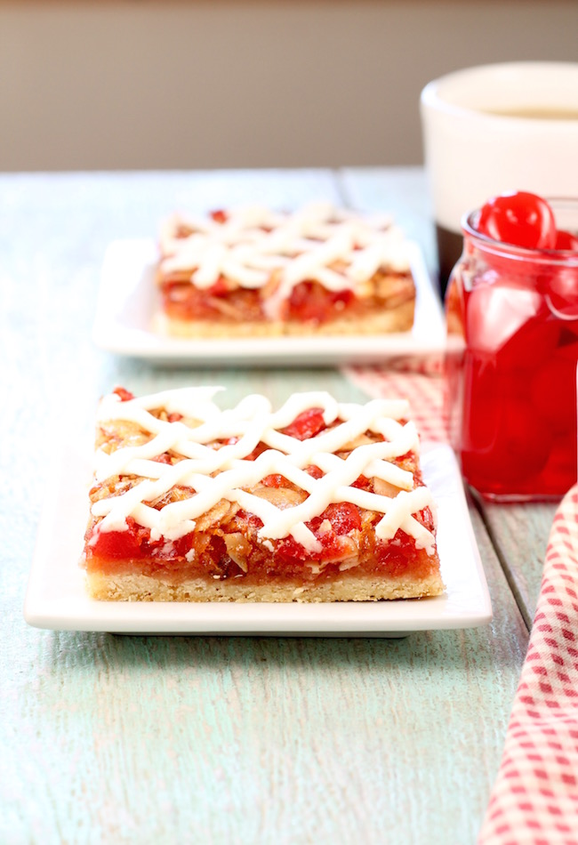 Cherry Almond Bars with cream cheese icing
