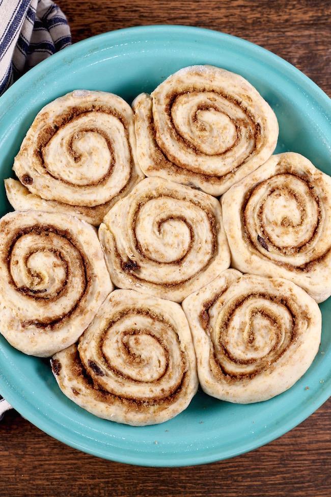Raisin Bran Cinnamon Rolls ready to bake