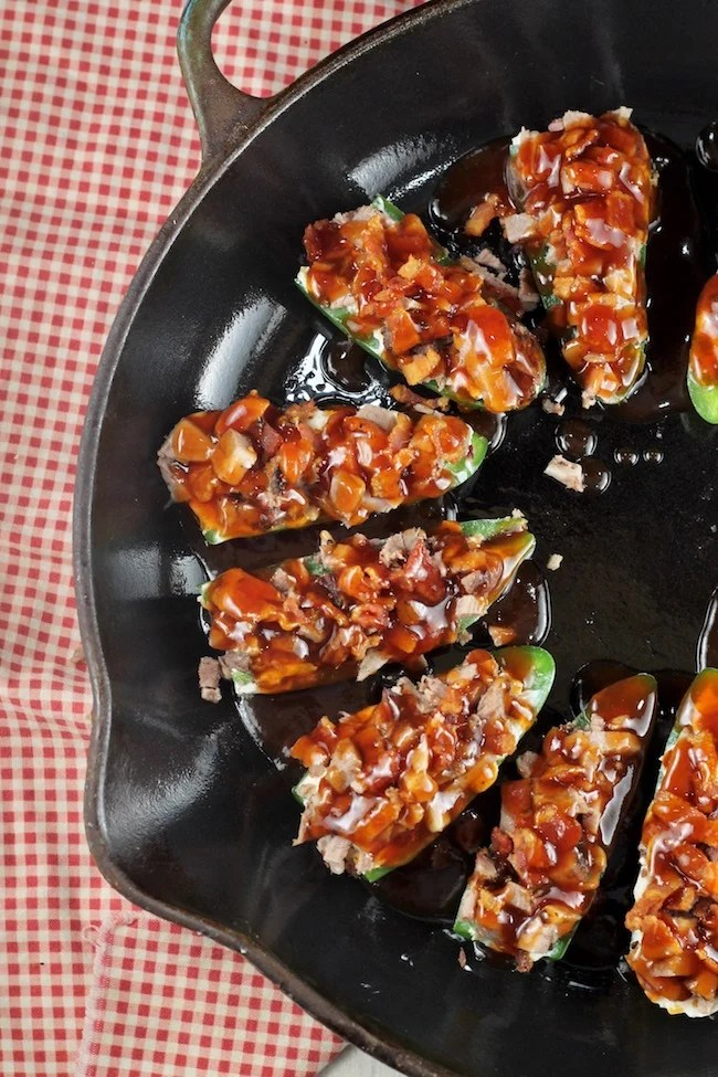 Jalapeño Poppers with Brisket, Bacon & Barbecue Sauce