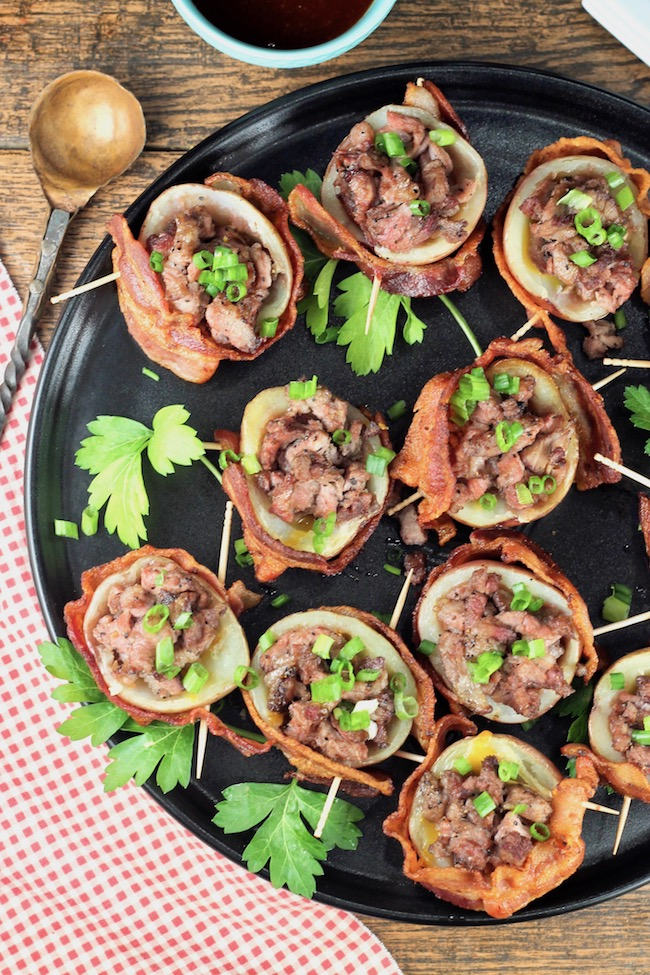 Loaded Potato Skins wrapped in crispy bacon and stuffed with smoked roast beef and cheese ~ appetizer