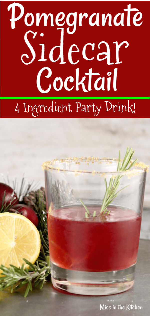 Easy Pomegranate Sidecar Cocktail with bourbon
