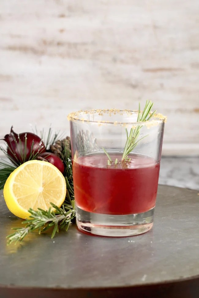 Pomegranate Sidecar Bourbon Cocktail
