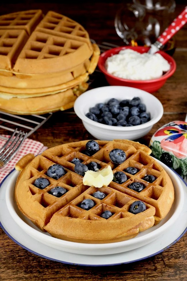 Easy Belgian Waffles with fresh blueberries and butter
