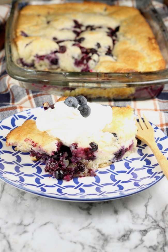 Easy Blueberry Cobbler with whipped cream