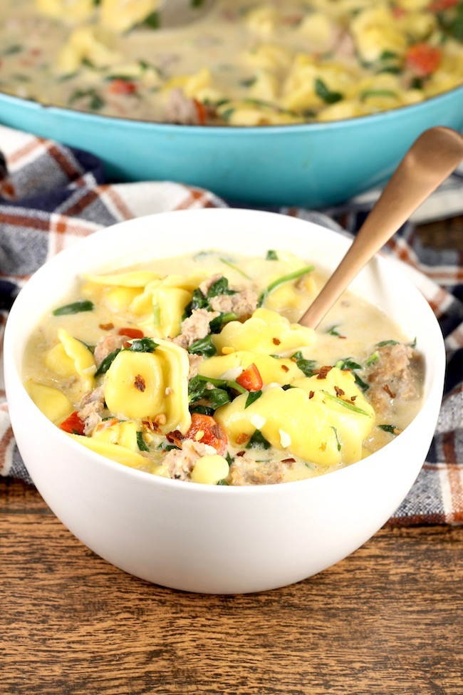 Hearty and delicious ~ Easy Tortellini Soup with sausage